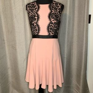 Metaphor Pink Black Lace fit flare cocktail dress